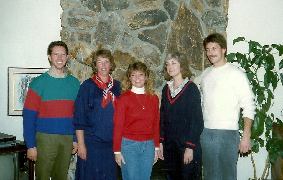"The Hostess, surrounded by her tormenters, circa ""The College Years"""