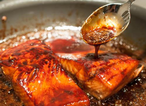 Bourbon Glazed Salmon Recipe - EntertainingCouple.com