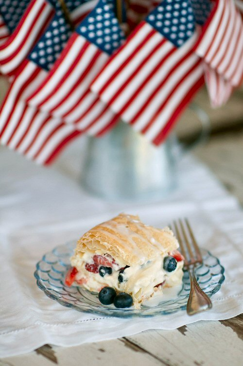 Strawberry Napolean with Blueberries