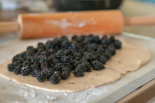 Blackberries on Dough