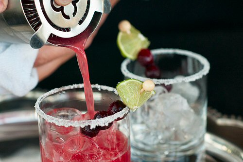 Pouring a Cranberry Margarita