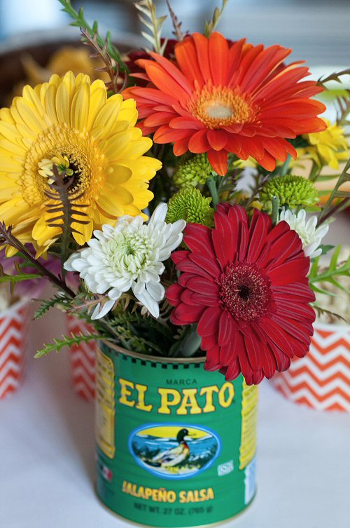 Flowers in Salsa Can