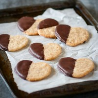 Chocolate-dipped Walnut Shortbread Cookies